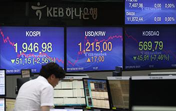 韓国株式市場から50兆㌆離脱